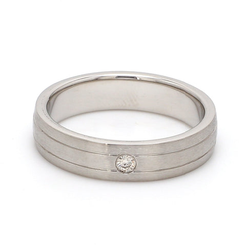 Ready to Ship - Ring Size 22, Single Diamond Matte Finish Platinum Band for Men JL PT 665