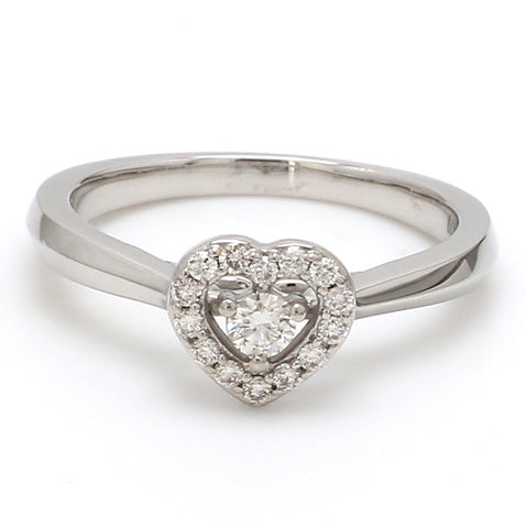 Front View of Platinum Heart Ring JL PT 662