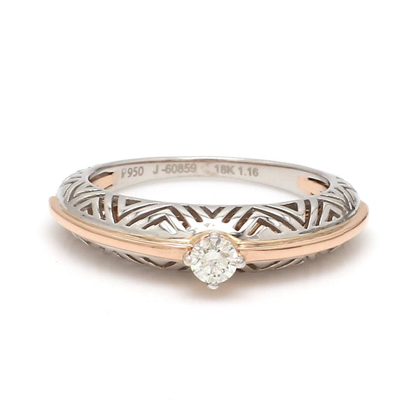 Front View of Platinum & Rose Gold Couple Rings with Single Diamonds for Women JL PT 952