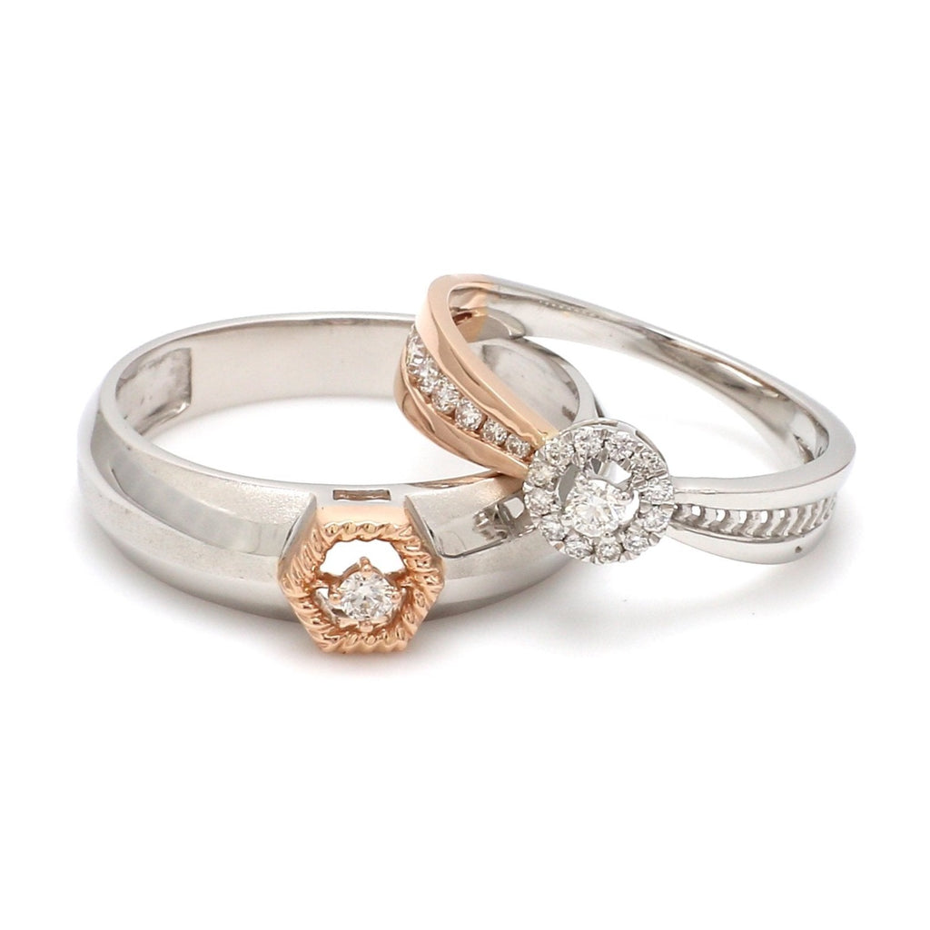 Platinum & Rose Gold Couple Rings with Diamonds JL PT 998-RG