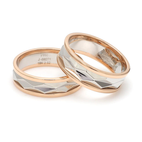 Designer Cut Platinum & Rose Gold Couple Rings JL PT 946