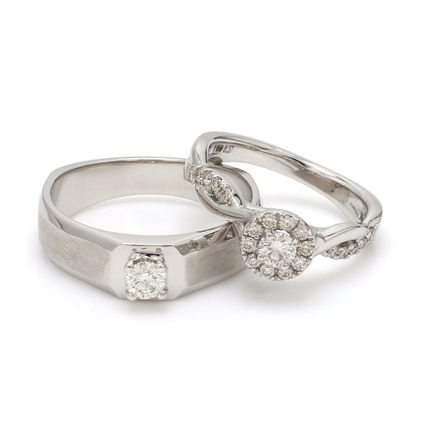 Platinum Solitaire Couple Rings JL PT 983