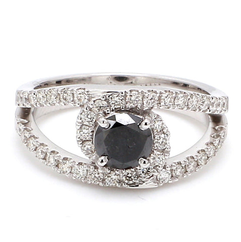 Platinum Engagement Ring for Women with Black Diamond  SJ PTO 516-BlackDiamond
