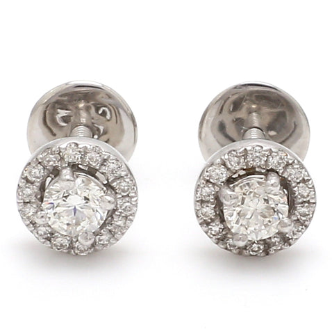 Platinum Solitaire Halo Earrings JL PT E 183