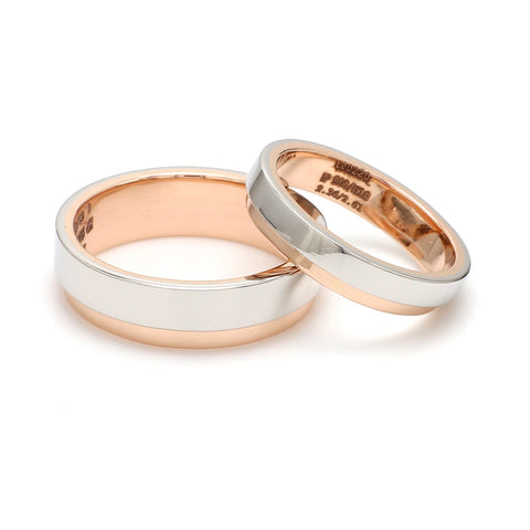 Platinum Love Bands with Rose Gold Step JL PT 925 - A