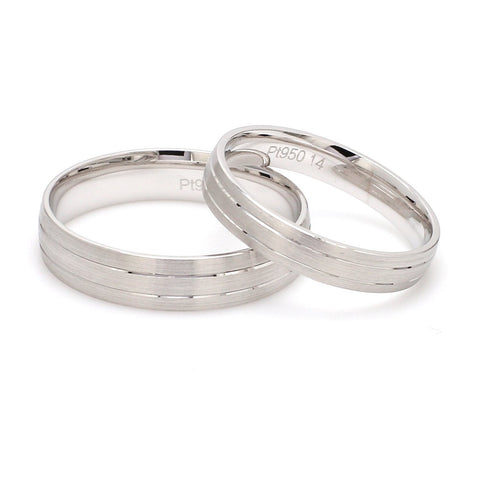 Front View of Japanese Platinum Love Bands with 2 Sleek Grooves Pair JL PT 535