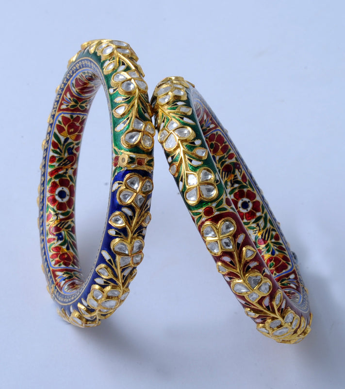 Traditional Indian Polki Bangles - Artistic Diamond Polki Bangle With Red, Green & Blue Enamel