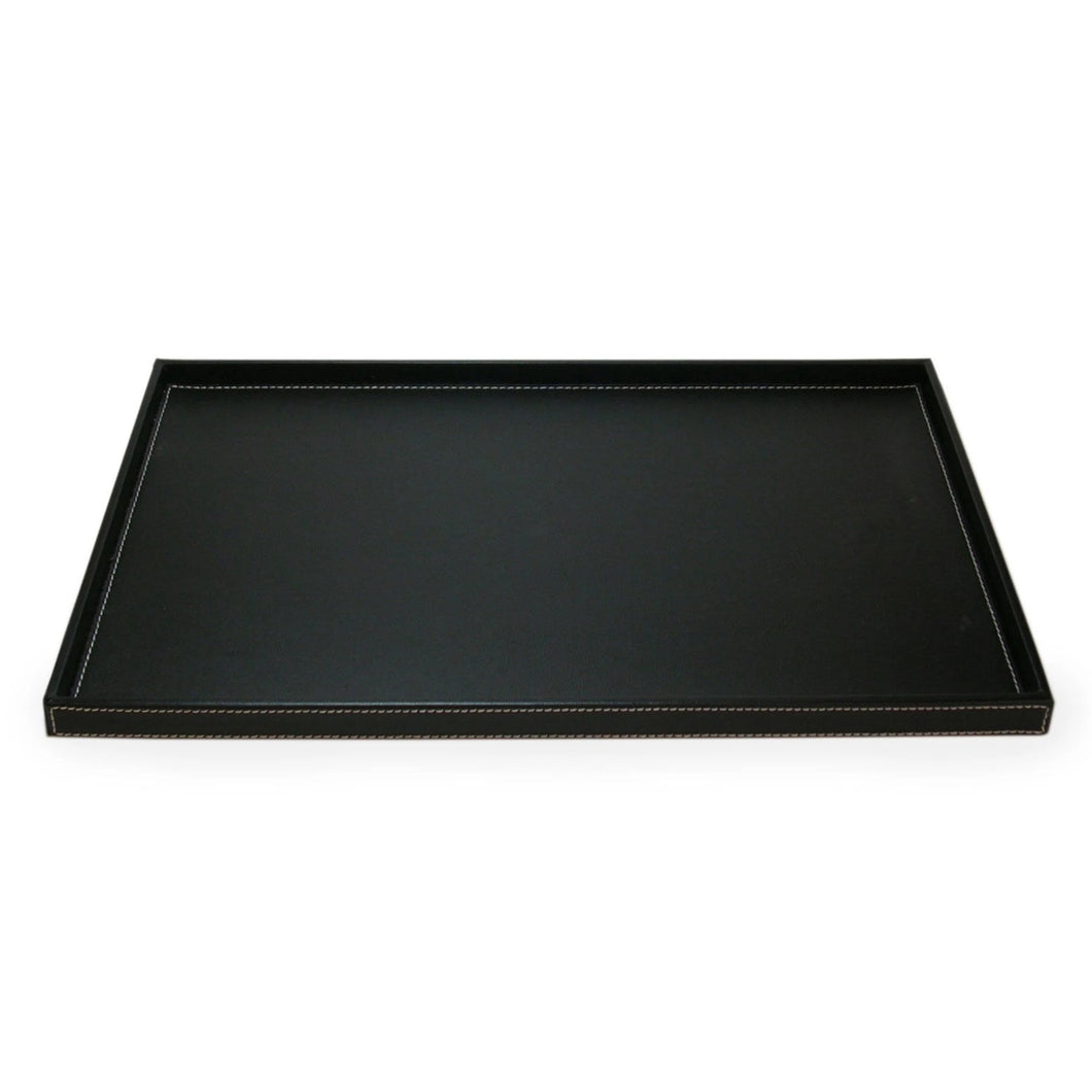 Rectangle Black Leatherette Topstitched Tray