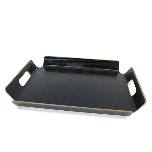 Black Texturized Wood Grain Tray with Handles