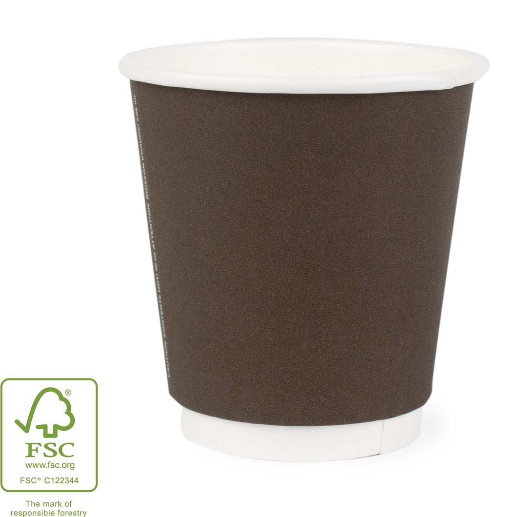 Dark Brown Dual-Walled Wrapped Hot Cups