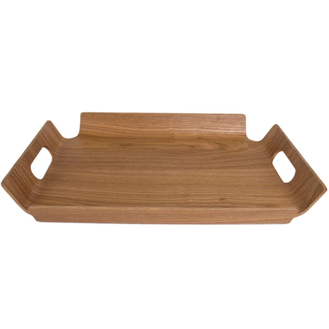 Rectangle Light Wood Grained Textured Tray in with Handles