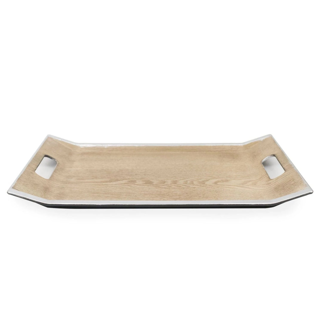 Rectangle Oak Tray with Silver Edges and Handles