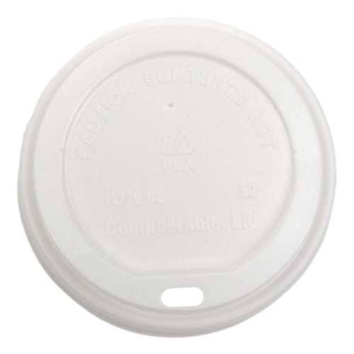 White Compostable PLA Hot Cup Lids