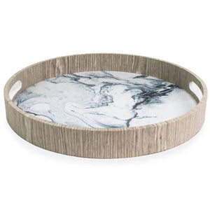Round Oak Tray with Marble Pattern and Wood Rim with Handles