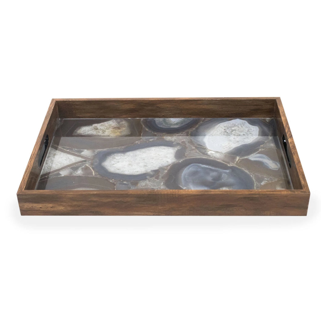 Rectangle Dark Wood Tray with Stone Design