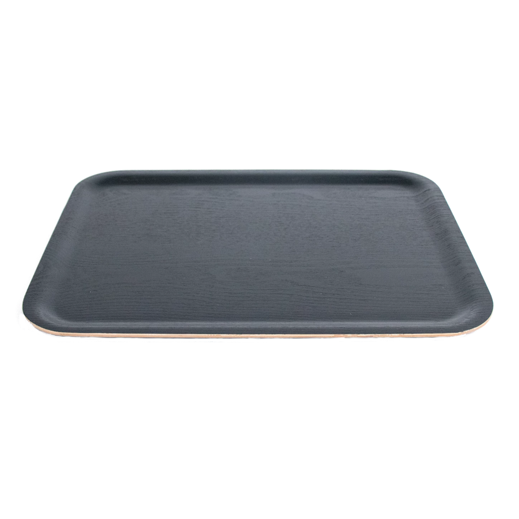Rectangle Black Wood Tray With Lightly Raised Edges