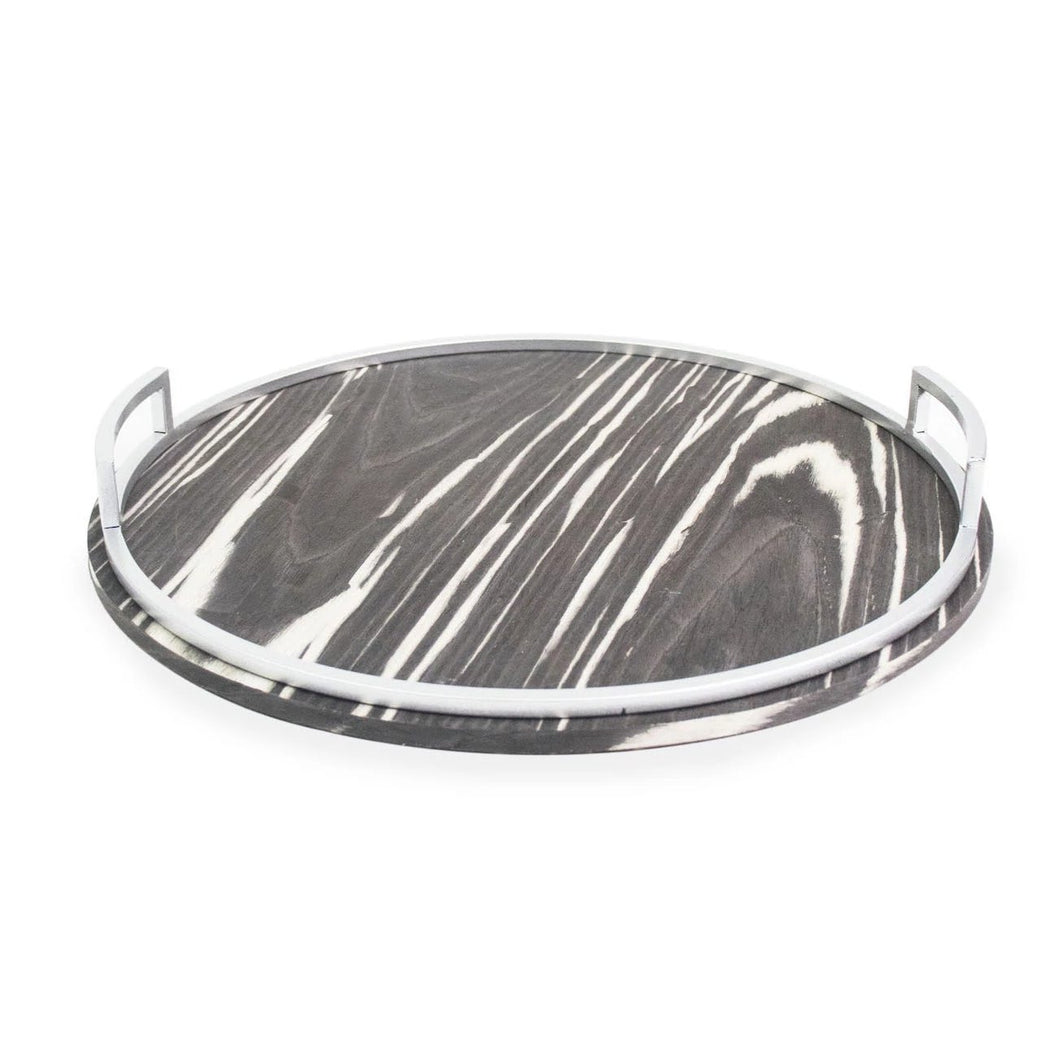 Round Zebrawood patterned Tray with Silver Handles