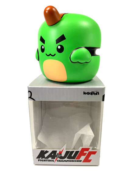 "Copy of KUSOPON KAIJU FC, Fighting Championship, Designer toy, GREEN vinyl Kaiju in a Box, 3"" tall, 3"" wide"
