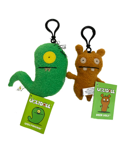 "Ugly Doll Bag Clips, Ugly Worm and Deer Ugly, 4"" tall"