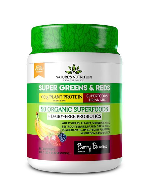 Natures Nutrition Super Greens & Reds with Protein - Berry Banana
