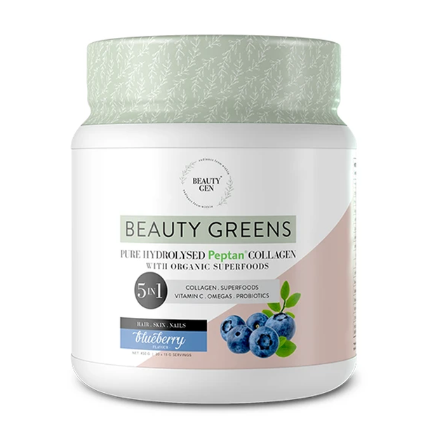 Beauty Greens Hydrolysed Peptan Collagen 5 in 1 - Blueberry