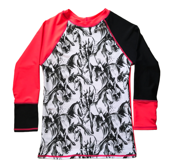 Horse Sketch & Neon Tang Long Sleeve Rashvest