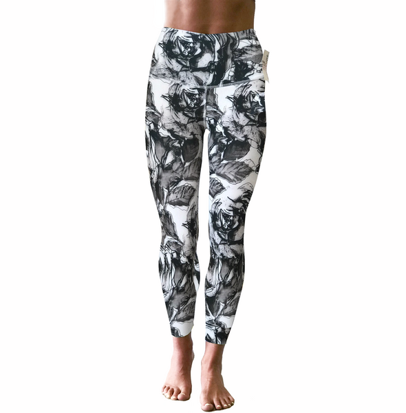 Girls Leggings - Mono Rose