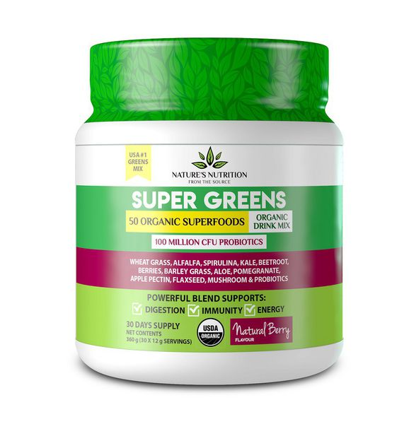 Natures Nutrition Super Greens - Natural Berry