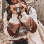 Autumn Winter O-Neck Patchwork Sweater 2019 Women Lantern Sleeve Warm Knitted Sweater Female Oversize Pullover Jumper