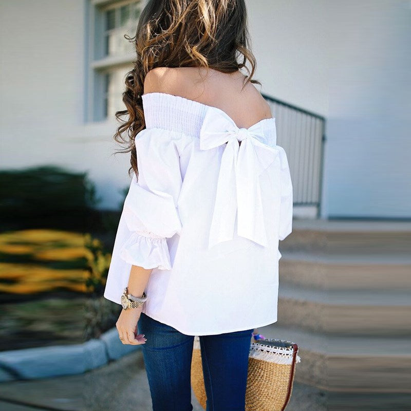 Off Shoulder Sexy Blouse Slash Neck Lace-up Bow Casual Blouses