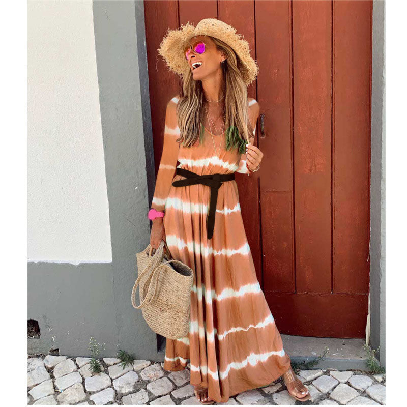 Vacation Long Sleeve V-Neck Floral Print Maxi Dress