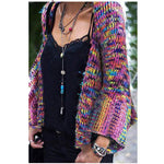 Women Plus Size Loose Cardigans Autumn Batwing Sleeve Knitted Coats V-Neck Casual Multi Patchwork Sweater Cardigans