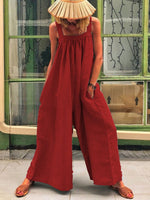 Vacation Casual Straps Solid Jumpsuits