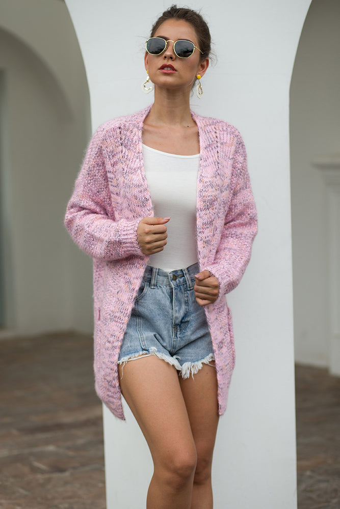 Long Sleeve Knitted Double Pockets Cardigan Autumn Sweaters