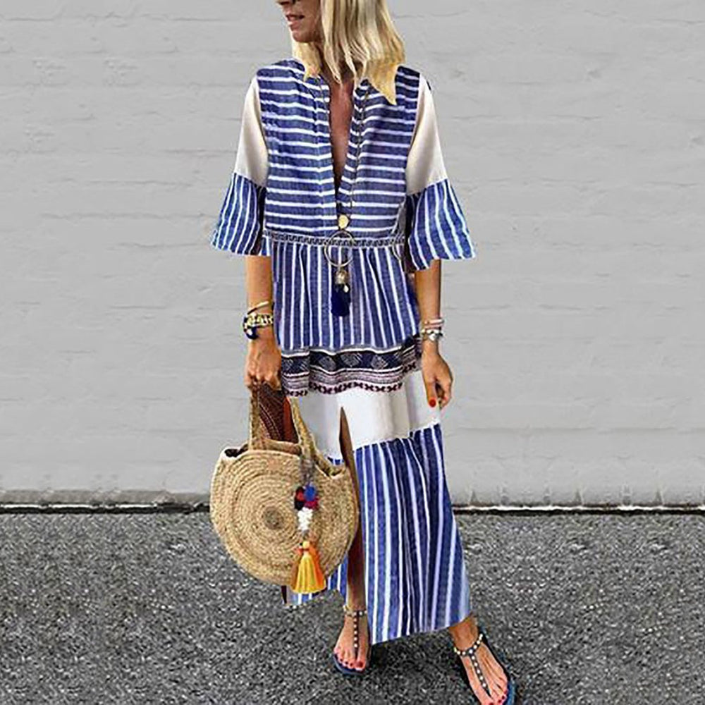 Bohemian Stripe Split V-Neck Maxi Dresses