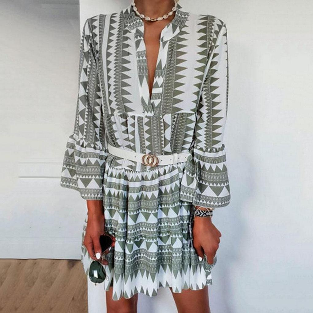 Bohemian Fashion Casual Print V Neck Dress