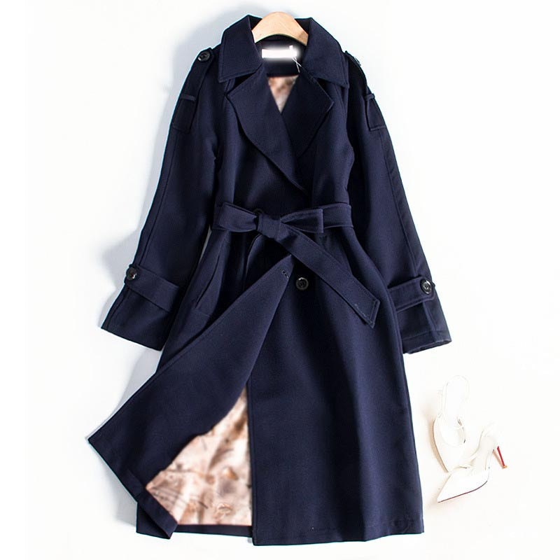 2019 Autumn Women Double Breasted Long Trench Coat Casual Belt Office Lady Coat Outwear Slim Plus Size Coat