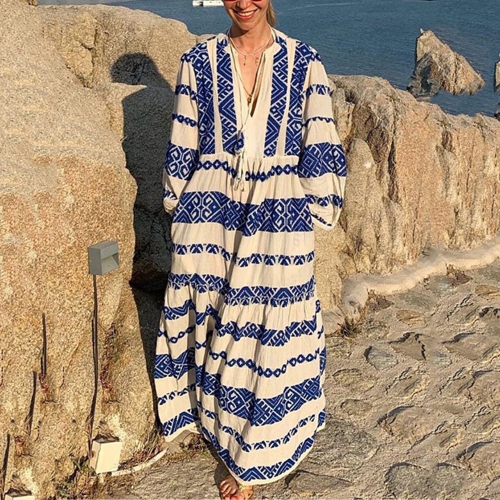 Bohemian V-Neck Long Sleeve Print Maxi Dresses