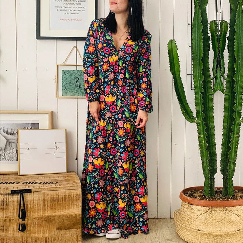 2019 fall floral printed maxi dress women long sleeve beach dress boho casual plus size dress