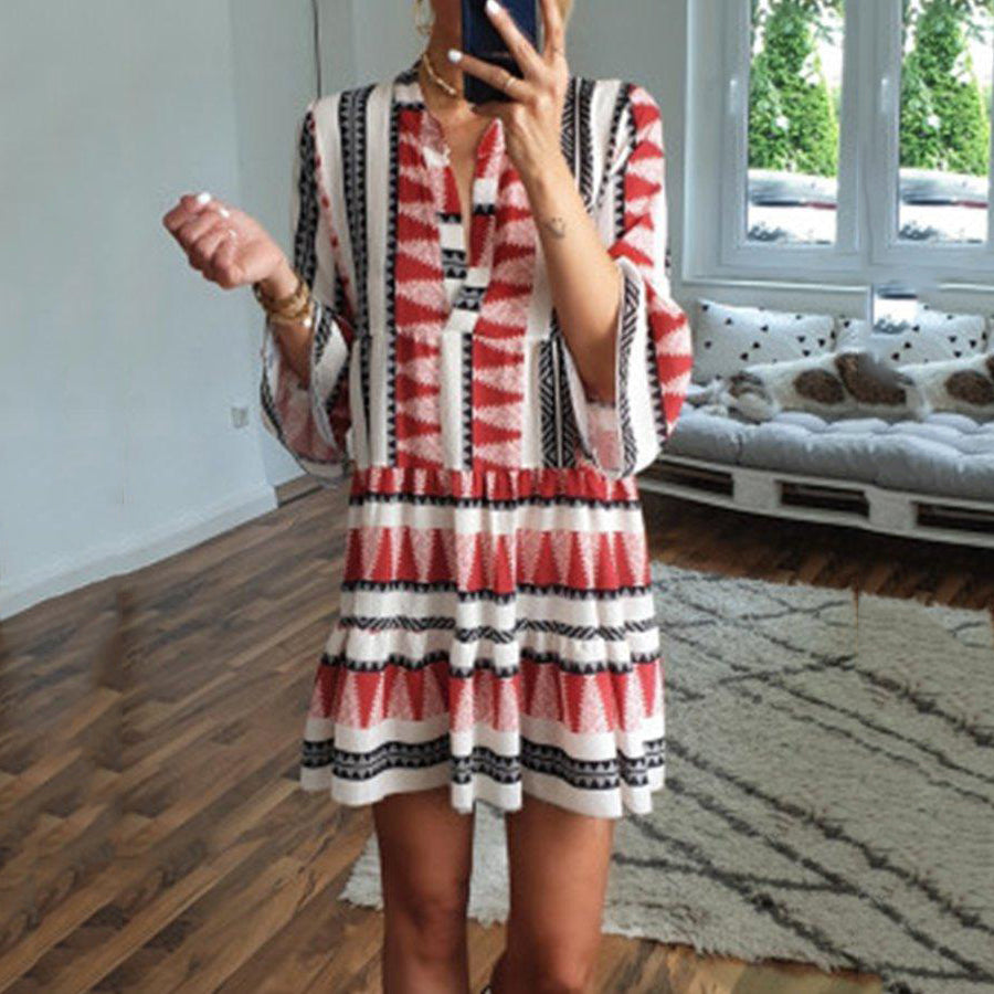 Floral Print Boho Plus Size V-neck 3/4-Length Sleeve Mini Dresses