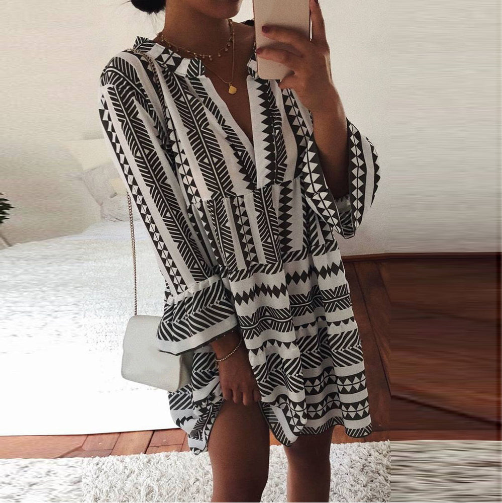 Women Black Fashion V Neck Loose Mini Dress Female High Waist Dress