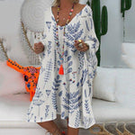 Plus Size Floral Print Long Sleeve V-Neck Casual Dress