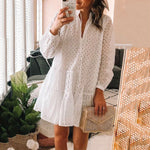 Casual V-Neck Hollow Out Long Sleeve Mini Dress