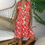 5XL Plus Size 2019 Summer Women Boho Print Dress Sleeveless Ruffled Mini Dress V-Neck Button Tank Dress