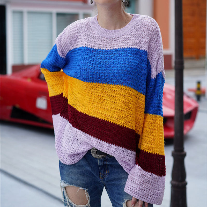 Fall Women Thick Loose Oversize Sweater O-Neck Flare Sleeve Stripe Sweater Warm Casual Knitted Pullovers Jumpers