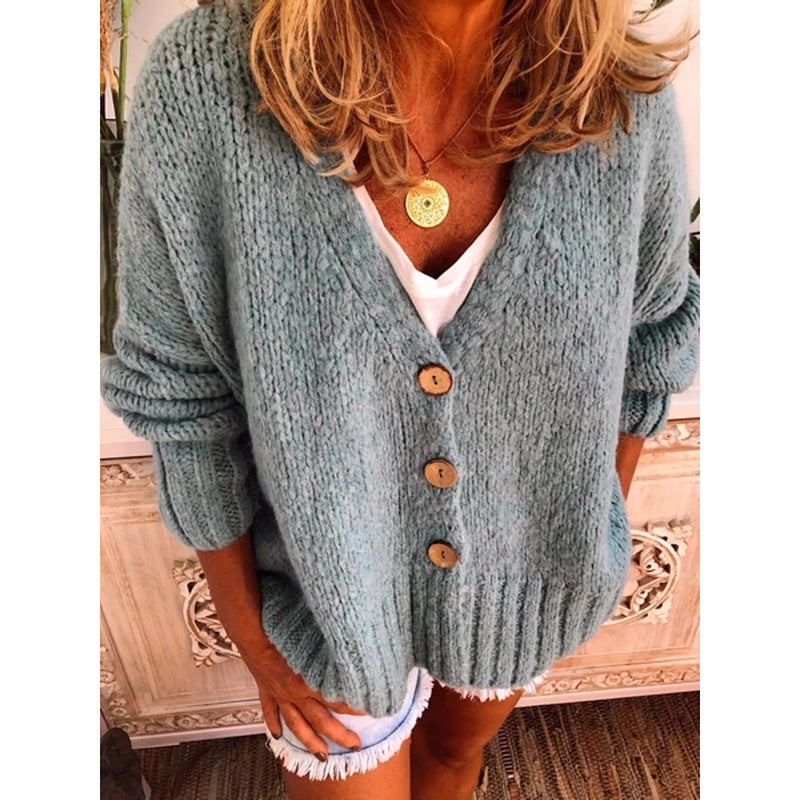 Fall Winter Women Single Breasted Knitted Cardigans Female V Neck Short Sweaters Batwing Sleeve Plus Size Sweaters