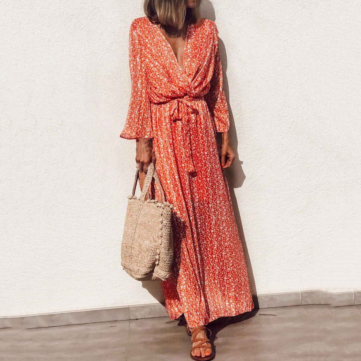 Bohemian Printed V Neck Long Sleeve Summer Beach Maxi Dresses