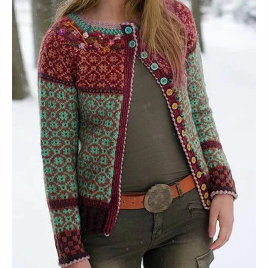 2019 Autumn Winter New Multi-Color Stitching Cardigan Sweater Women Button Printed Sweater Coat Knitted Sweaters