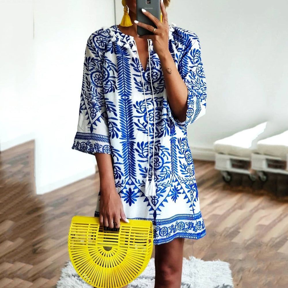 Casual Summer 3/4-Length Sleeve Print Beach Dresses