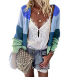 Autumn Korean Striped Long Cardigan Women Loose Pockets Vintage Knit Sweater Jacket